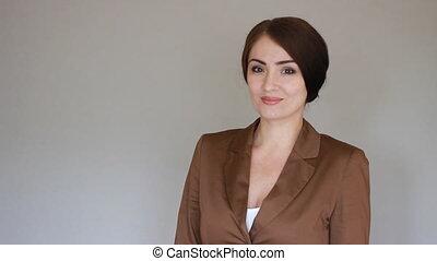 sorridente, donna d'affari, presentare, product., giovane, presentazione
