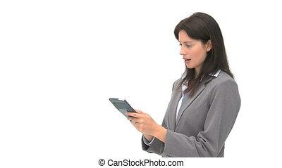 sorridente, donna d'affari, usando, uno, computer, tavoletta