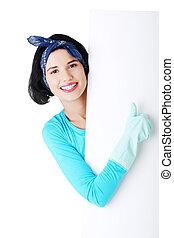 sorridente, donna pulizia, esposizione, segno bianco, board.