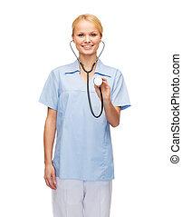 sorridente, dottore femmina, o, infermiera, con, stetoscopio