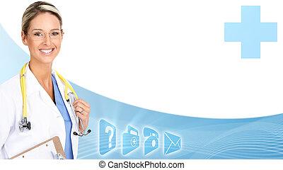 sorridente, dottore, medico, donna