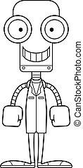 sorridente, dottore, robot, cartone animato