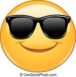 sorridente, emoticon, con, occhiali da sole