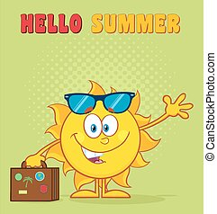 sorridente, estate, sole, carattere