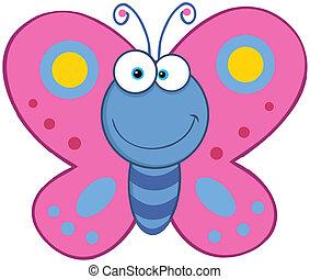 sorridente, farfalla
