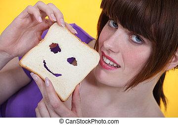 sorridente, fetta, bread.