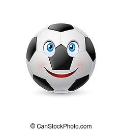 sorridente, football, faccia