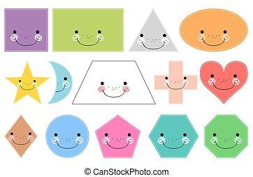 sorridente, geometrico, shapes., isolato, fondo, fondamentale, bianco, cartone animato