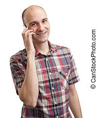 sorridente, giovane, comunicando telefono