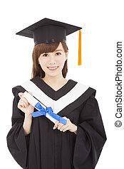 sorridente, giovane, laureato, studente ragazza, con, diploma