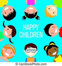 sorridente, gruppo, bambini