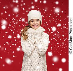 sorridente, guanti, cappello, silenziatore, ragazza, bianco