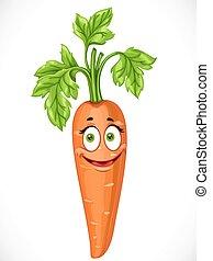 sorridente, isolato, carota, fondo, bianco, cartone animato