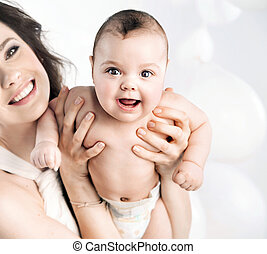 sorridente, mamma, proposta, con, uno, figlia
