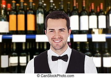 sorridente, maschio, barista
