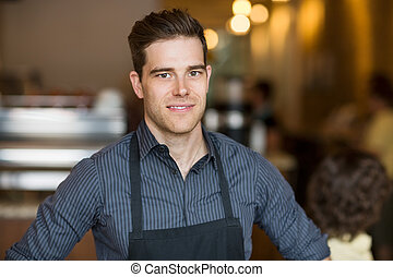 sorridente, maschio, proprietario, in, caffè