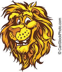 sorridente, mascotte, vettore, cartone animato, leone