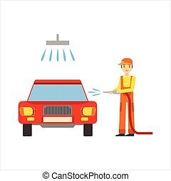 sorridente, meccanico, lavando macchina, in, il, garage,...