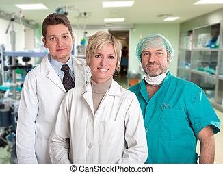 sorridente, medico, squadra