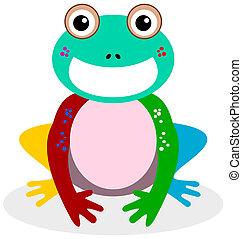 sorridente, multicolor, rana