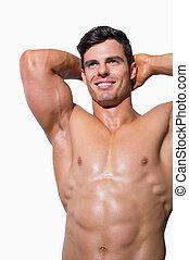 sorridente, muscolare, shirtless, uomo