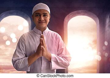 sorridente, musulmano, uomo