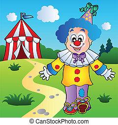 sorridente, pagliaccio, con, tenda circus