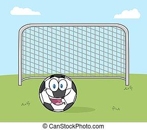 sorridente, palla calcio