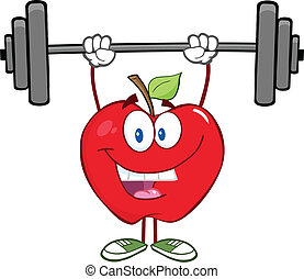 sorridente, pesi, mela, sollevamento