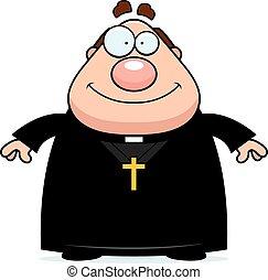 sorridente, prete, cartone animato