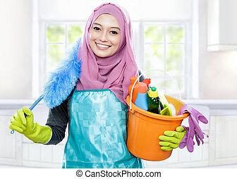sorridente, pulitore, giovane, il portare, hijab