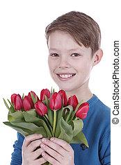 sorridente, ragazzo, con, tulips