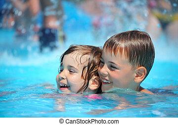 sorridente, ragazzo, e, piccola ragazza, nuoto piscina, in,...