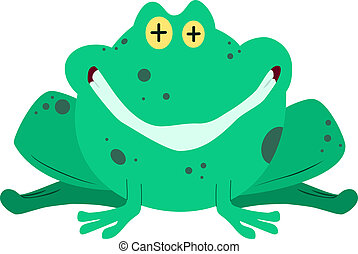 sorridente, rana, verde