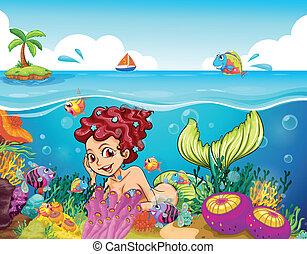 sorridente, sirena, mare, sotto
