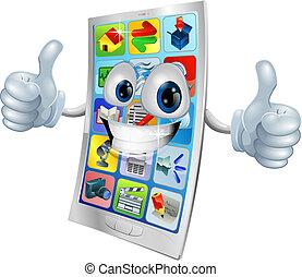 sorridente, telefono mobile, mascotte