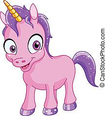 sorridente, unicorno