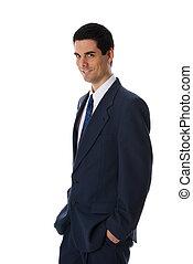 sorridente, uomo affari