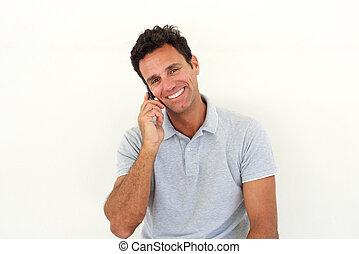 sorridente, uomo più anziano, comunicando telefono