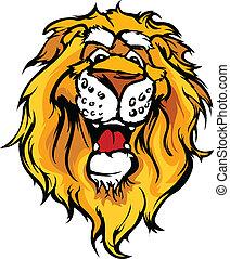 sorridente, vettore, cartone animato, leone, mascotte