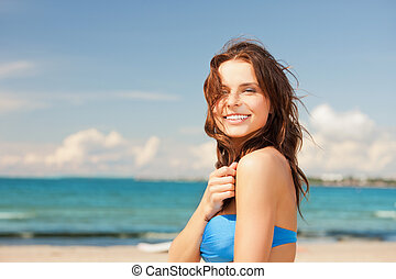 sorridere felice, donna, spiaggia