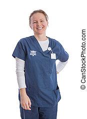 sorridere felice, medico, assistente, in, uniforme