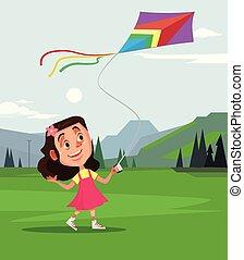 sorridere felice, piccola ragazza, carattere, gioco, mosca, kite., estate, tempo primaverile, concetto, vettore, cartone animato, illustrazione