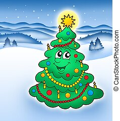 sorrindo, árvore, natal, paisagem, nevado