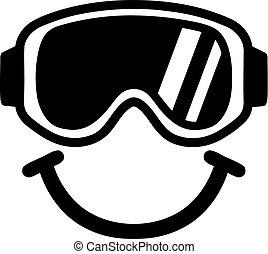sorrindo, óculos proteção, esqui