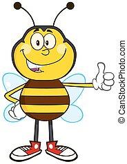 sorrindo, abelha, mostrando, cima, polegar