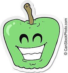 sorrindo, adesivo, maçã, caricatura