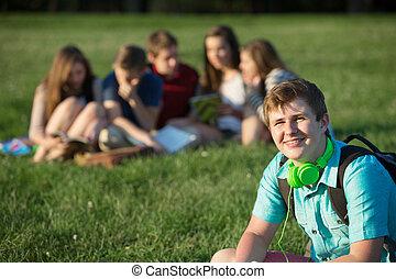 sorrindo, adolescente, estudante