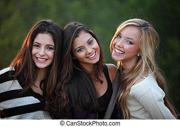 sorrindo, adolescentes, com, bonito, dentes brancos