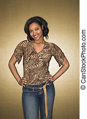 sorrindo, africano-americano, woman.